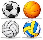 Different balls used in sports Stock Photos