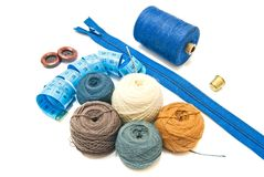 Different balls of yarn and meter Royalty Free Stock Images