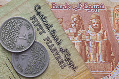 Different banknotes and coins of Egyptian money Royalty Free Stock Images
