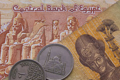 Different banknotes and coins of Egyptian money Royalty Free Stock Photo