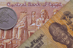 Different banknotes and coins of Egyptian money Royalty Free Stock Photos