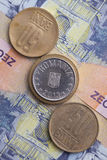Different banknotes and coins  of Romania money Stock Photo