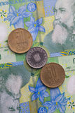 Different banknotes and coins  of Romania money Stock Images
