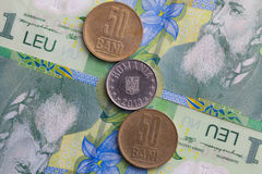 Different banknotes and coins  of Romania money Stock Photos