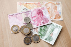 Different banknotes and coins. Turkish money Royalty Free Stock Photography