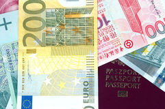 Different banknotes and EU passport. Hong Kong dollars, Chinese RMB, Euro and Polish PLN with passport cover Stock Image