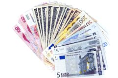 Different banknotes, fan shaped. RMB, dollars and euro - banknotes in shape of fan. Photo of different banknotes, money in different shapes and colors. Useful Royalty Free Stock Images