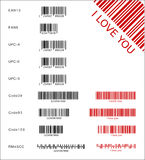 Different barcodes. Different black and red barcodes (vector illustration Stock Photos