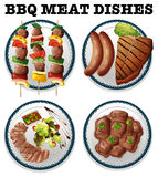 Different Bbq Meat On The Plates Stock Image