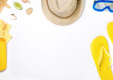 Different beach items on the white background Royalty Free Stock Photos