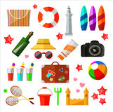 Different beach and relax icons and elements stock illustration