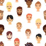 Different beard man head face vector icons seamless pattern background. Different ethnic nationality affiliation man head face vector icons.. Boy emoji face Stock Images