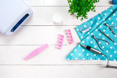 Different Beauty and Personal Care Hardware pedicure and manicure Feet Hand Nail tools and Accessories on white placed Royalty Free Stock Photo