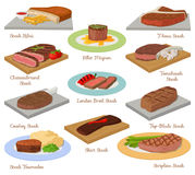 Different beef steak raw meat food red fresh cut butcher uncooked barbecue bbq slice ingredient vector illustration.  Royalty Free Stock Image