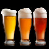 Different beer in glasses isolated on black Stock Images