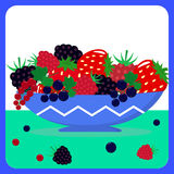 Different berries in a blue plate. Illustration of ripe and sweet berries in a blue plate on a table Stock Image