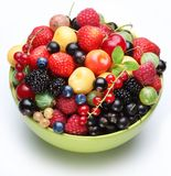 Different berries in the bowl. Royalty Free Stock Photo