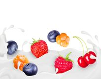 Different berries drown in splashes of cream.  stock illustration