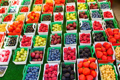 Different berries on market in south of France, Arles, Provence Royalty Free Stock Photos