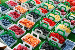 Different berries on market in south of France, Arles, Provence Royalty Free Stock Images