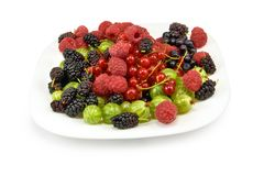 Different berries in a plate on a white background Stock Photo