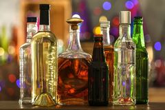 Different beverages. On blurred background Royalty Free Stock Image