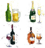 Different beverages drawing by watercolor Royalty Free Stock Image