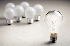 Different Big Light Bulb stock images