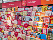 Different Birthday cards. MONTREAL, CANADA - AUGUST 25, 2016 : Different Birthday cards at Pharmaprix store stock image