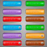 Different bitcoin buttons. Vector illustration of different colored bitcoin buttons for the web Royalty Free Stock Image