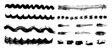 Different dry vector brush strokes Royalty Free Stock Images