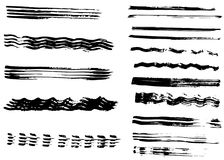 Different dry vector brush strokes Royalty Free Stock Image