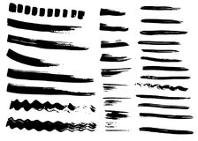 Different dry vector brush strokes Stock Photos