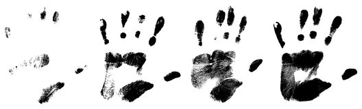 Different black hand rprints. Different black handr prints Royalty Free Stock Image