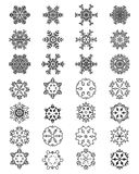 Different black snowflakes Royalty Free Stock Photos