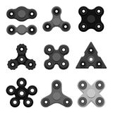 Different black spinners Royalty Free Stock Image
