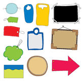 Different blank gift or price tags and photo frame Stock Images