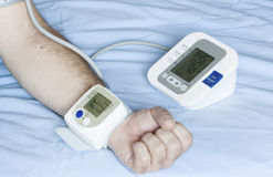 Different blood pressure measurements Stock Photo