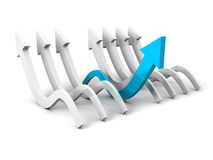 Different blue arrow as concept leader of other arrows Stock Photo