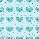 Different blue colors mosaic hearts. Motton blue mosaic hearts on turquoise background royalty free illustration
