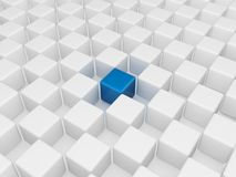 Different blue cube. 3d render of a blue cube different from the others Royalty Free Stock Images