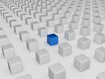 Different blue cube. 3d render of a blue cube different from the others Royalty Free Stock Photos