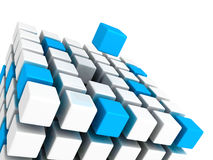 Different blue cube standing out from white cubes. Build structure. Individual leadership concept 3d render illustration Stock Photo