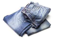 Different blue jeans Stock Images