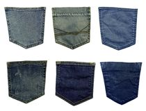 Different blue jeans pockets isolated on white background stock image