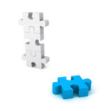 Different blue jigsaw puzzle piece out from white group. Unique concept 3d render illustration Royalty Free Stock Images