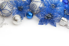 Different blue and silver christmas decoration. Different christmas decoration on white Royalty Free Stock Photos