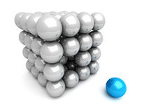 Different Blue Sphere Out From Others Group Stock Images