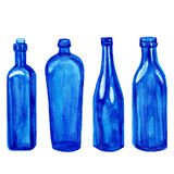 Different blue vector bottles, hand drawn watercolor illustration isolated  Royalty Free Stock Photography