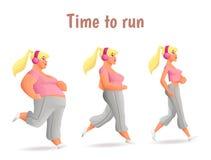 Different body types of women, women run. Evolution Slimming women, cartoon vector illustration of three women of different obesity running, fat, fatness, sports Stock Photos